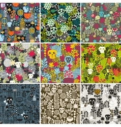 Set of floral seamless patterns with funny skulls vector image