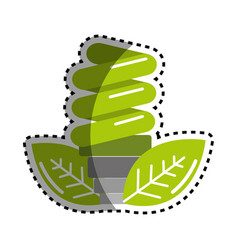sticker green energy save bulb with leaves icon vector image vector image