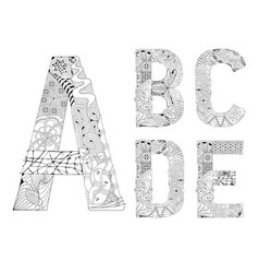 unusual alphabet doodle style letters on a white vector image vector image