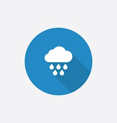 cloud rain Flat Blue Simple Icon with long shadow vector image