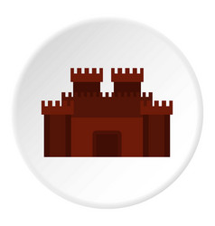 fortress with gate icon circle vector image