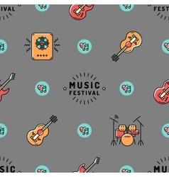 Music seamless pattern Rock festival design vector image