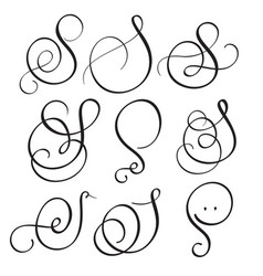 set of art calligraphy letter s with flourish of vector image vector image