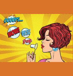 young woman blowing air bubbles comic vector image vector image