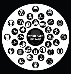 Circular Health and Safety Icon collection vector image vector image