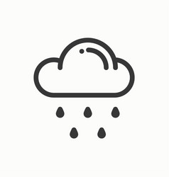 cloud sky rain line simple icon weather vector image vector image