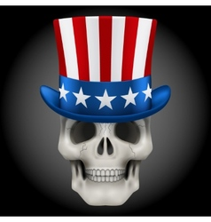 Human skull with Uncle Sam hat on head vector image vector image
