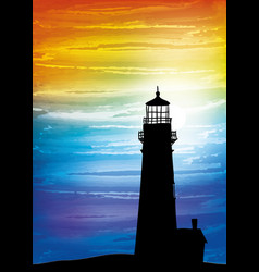 lighthouse on the sunset vector image vector image
