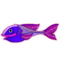 cartoon comics sea or river fish vector image vector image