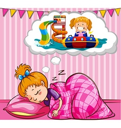Girl sleeping and dreaming vector image