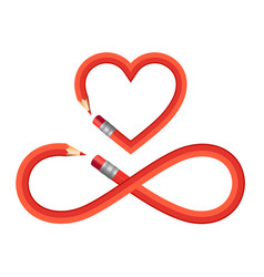 pencil heart and infinity sign set pencil heart vector image