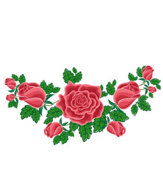 red roses in cartoon style vector image vector image