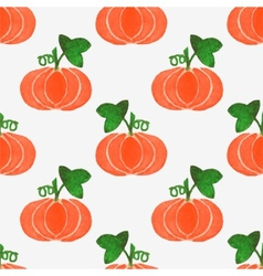 Seamless watercolor pattern with funny pumpkins on vector image vector image