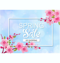 spring sale banner with cherry blossoms blue sky vector image