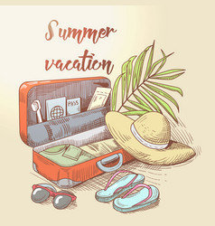 summer beach vacation tropical trip hand drawn vector image