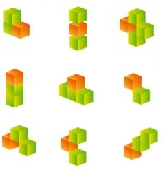 3d cubes set vector