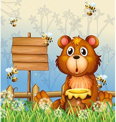 A bear and bees near a signage vector
