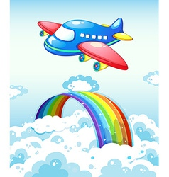 Airplane and rainbow vector