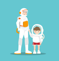Astronaut and kid on sky blue vector