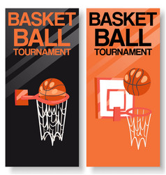 basketball tournament set banners vector image