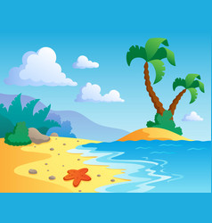 Beach theme scenery 1 vector
