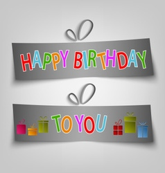 Birthday card with dark labels and gifts vector
