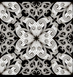 black and white floral elegance seamless pattern vector image