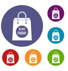 Black friday shopping bag icons set vector