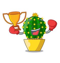 Boxing winner cartoon mammillaria humboldtii vector