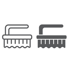 Brush line and glyph icon clean and wash scrub vector