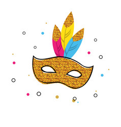 Carnival poster with glitter mask festival vector