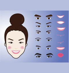cartoon cute girl character pack facial emotions vector image