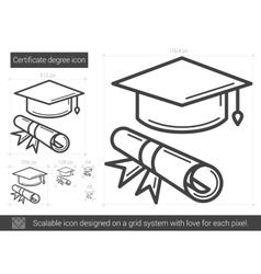 Certificate degree line icon vector image