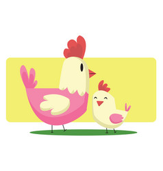 chicken and a little chick easter art web on a vector image