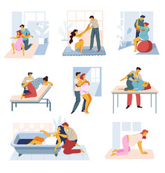 Childbirth isolated icons man and woman preparing vector