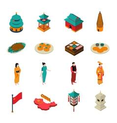 China Isometric Touristic Set vector image