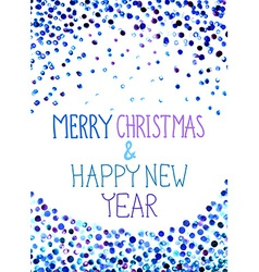Christmas background with watercolor blue dots vector