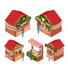 Christmas market kiosks and stalls with souvenirs vector