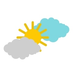 Clouds and sun icon flat style vector image