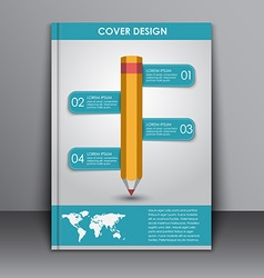 Cover design with a pencil and a map vector image