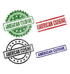 Damaged textured american cuisine stamp seals vector