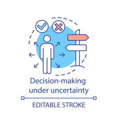 Decision-making under uncertainty concept icon vector