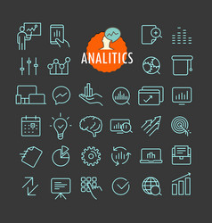 Different analitics icons collection web vector