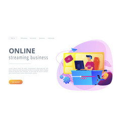 E-sport game streaming concept landing page vector