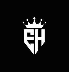 eh logo monogram emblem style with crown shape vector image