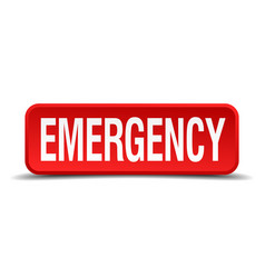 Emergency red 3d square button isolated on white vector