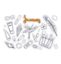 fashion stickers patches pins vector image