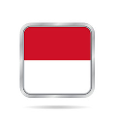 Flag of indonesia metallic gray square button vector