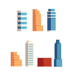 Flat cartoon building skyscrapers set vector
