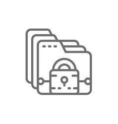 folder with lock file protection data security vector image